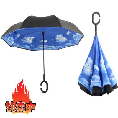 免持型汽车伞反向伞反转上收伞不湿伞防风雨伞双层伞图片