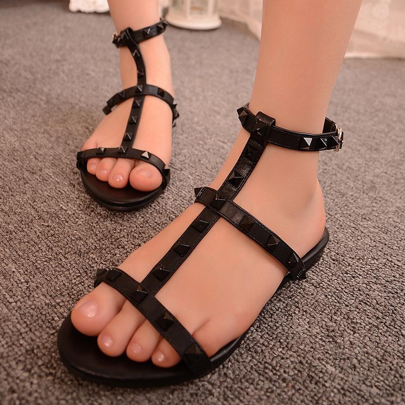 罗马凉鞋真皮女平底