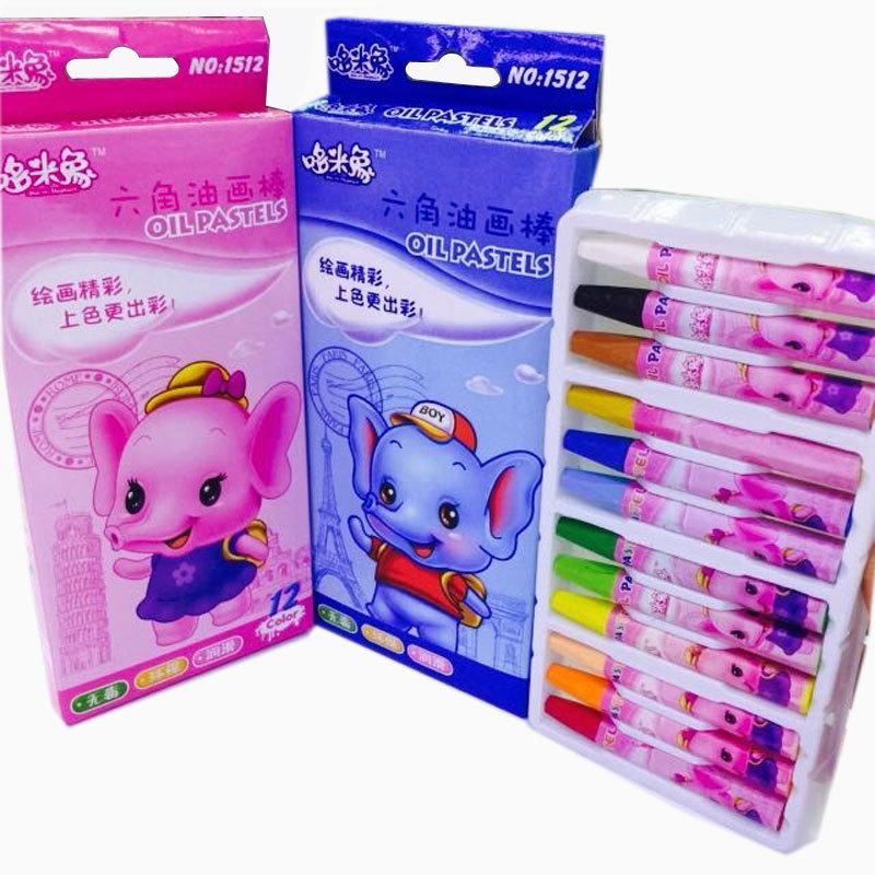 哆米象六角12色油画棒 环保儿童美术用品绘画蜡笔套装 定做贴牌图片