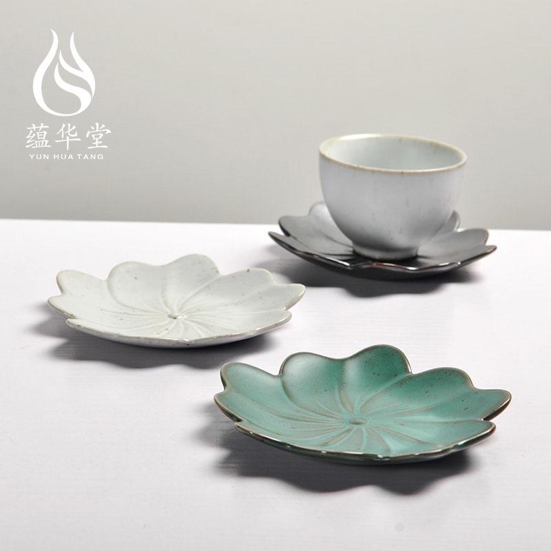 创意日式粗陶茶具 手工复古杯垫 德化陶瓷功夫茶具隔热垫茶托图片