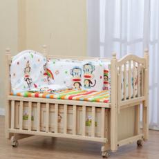 富贵宝贝 儿童无漆实木婴儿床668超静音摇床宝宝摇篮床可加长儿童床