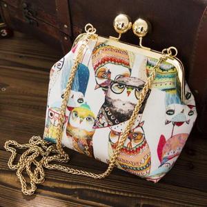 锦小姐锁扣真丝丝绸手机袋动物猫头鹰包包女2017新款工艺品 真丝包
