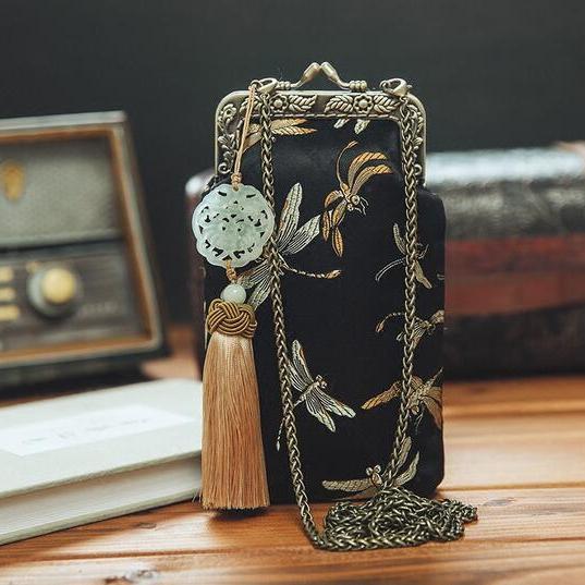 复古蜻蜓真丝织锦锻手机包iphone6 plus零钱袋斜挎包工艺品 真丝包