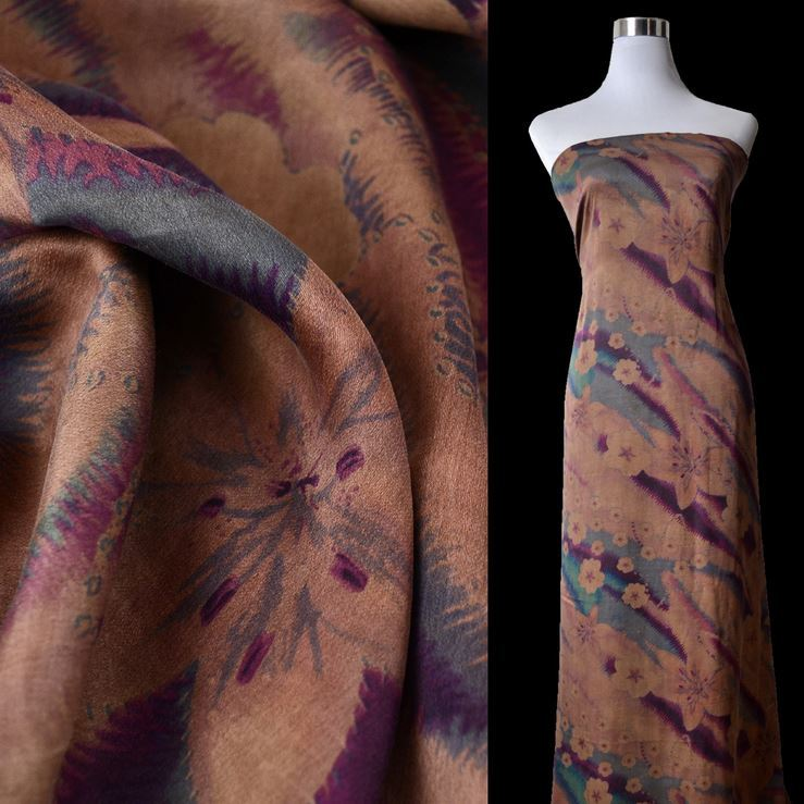 花开紫烟 100%桑蚕丝面料香云纱布料 真丝素绉缎底 莨绸 面料