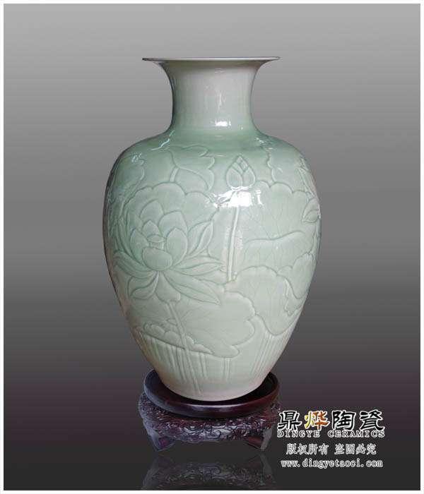 景德镇厂家生产陶瓷微雕花瓶 陶瓷工艺摆件