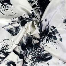 真丝面料丝绸布料 桑蚕丝素绉缎 服装被套枕套用布 晕染水墨花