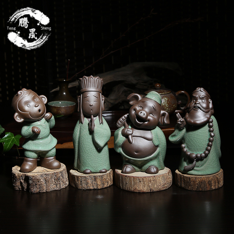 厂家直销茶宠批发 紫砂陶瓷创意西游记茶玩哥窑彩砂家居摆件工艺