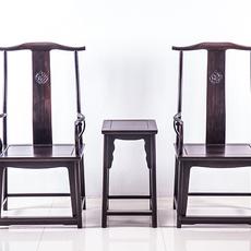 紫光檀家具实木官帽椅犀牛角红木高档椅张家港紫光檀客厅组合椅子