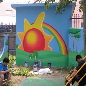 幼儿园外墙-青岛手绘壁画