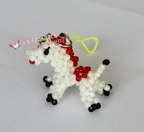 出口日本 手工编织米珠串珠成品小动物挂件 小马地摊热卖