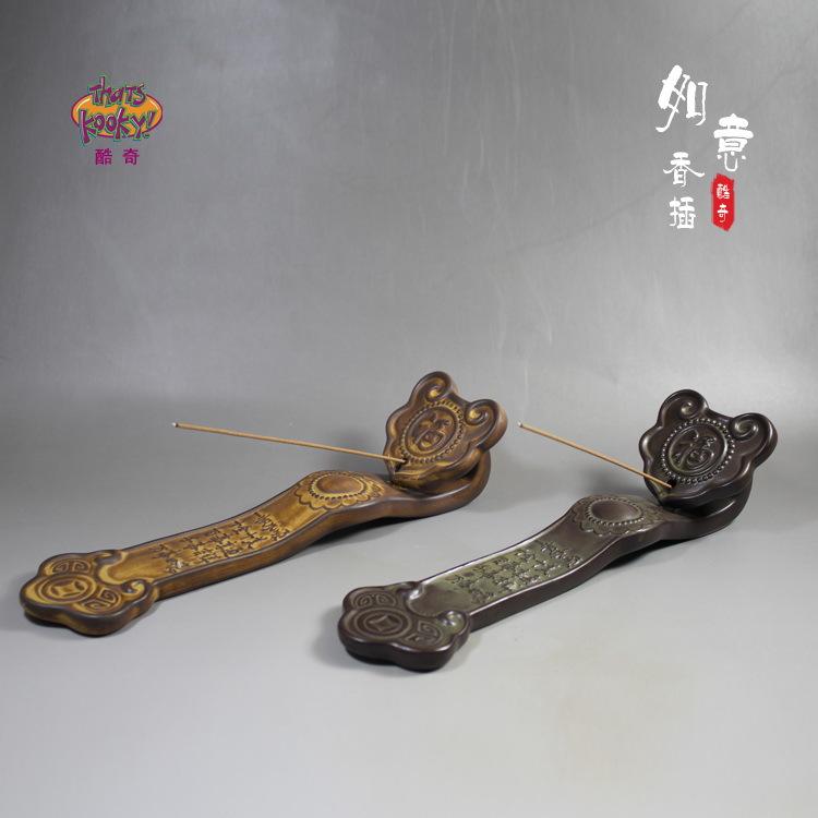 陶瓷线香插香炉 沉香炉檀香熏香炉 创意香塔香薰炉摆件 吉祥如意
