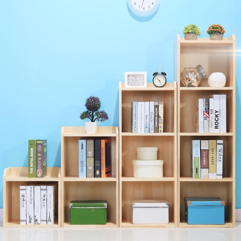 实木儿童简易书柜学生书架松木书架带门储物柜书报架自由组合图片