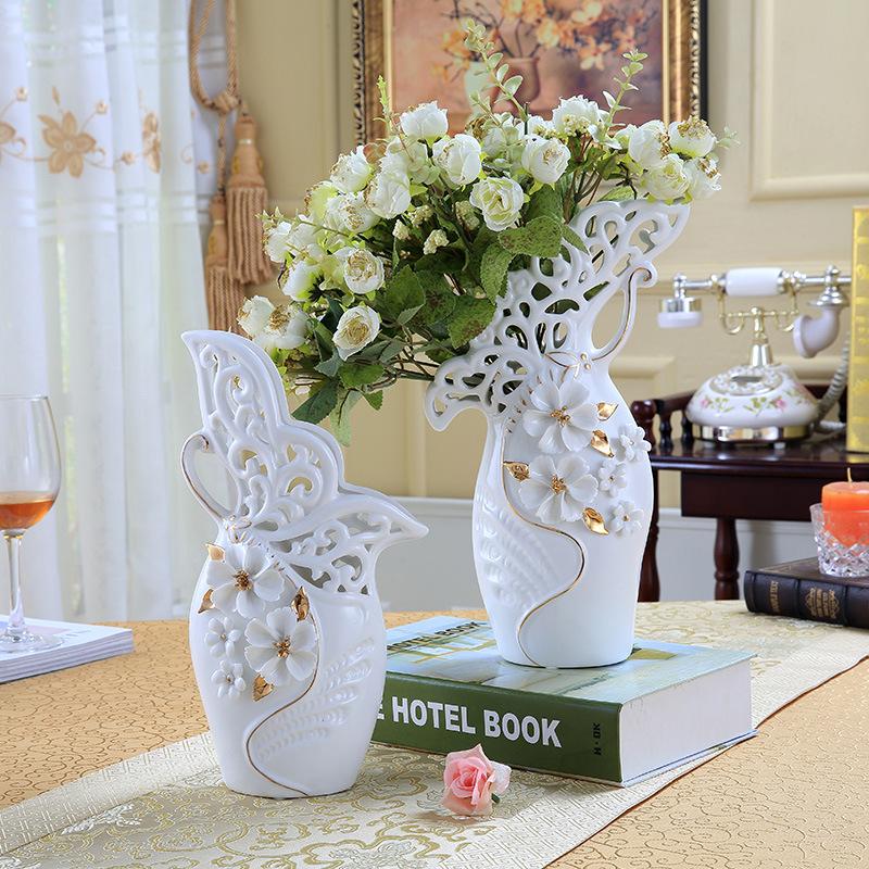 蝴蝶创意花瓶陶瓷摆设家居工艺品新婚房摆件欧式花插花器结婚礼品