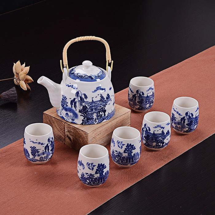君之福陶瓷茶具套装 7头日式青花大号提梁 功夫茶杯礼品定制批发