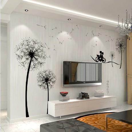 大型壁画3d 卧室 蒲公英墙纸自粘 防水电视背景墙壁纸纯壁画定制图片