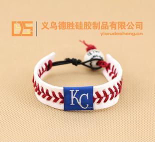 美国职业棒球大联盟 编织牛皮质 瓷珠 棒球 手环 堪萨斯城皇家队