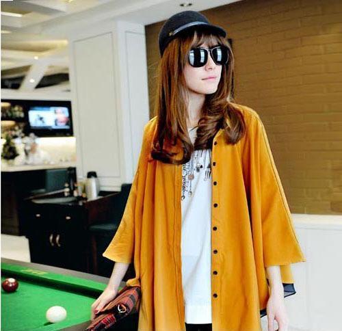 毛皮日韩2014春装新款韩版小资风范时尚超宽松蝙蝠袖单排扣翻领衬衫女
