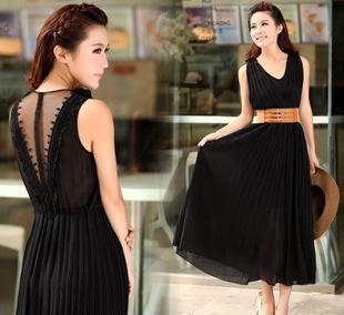 606新款夏装时尚连衣裙雪纺女装百褶波西米亚沙滩裙批发一件代发