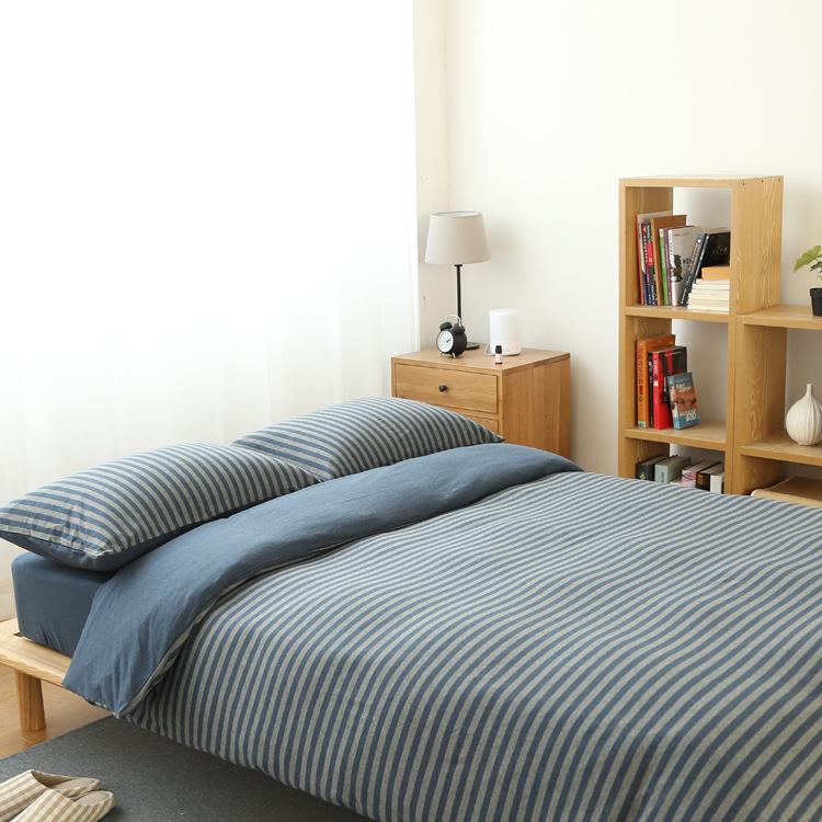 日式无印针织棉天竺棉条纹四件套被套床笠1.5 1.8米双人床品套件0