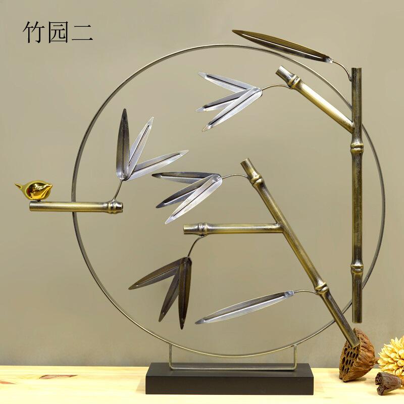 现代中式创意铁艺摆件 样板房家居软装饰品 客厅玄关竹子酒店摆设图片