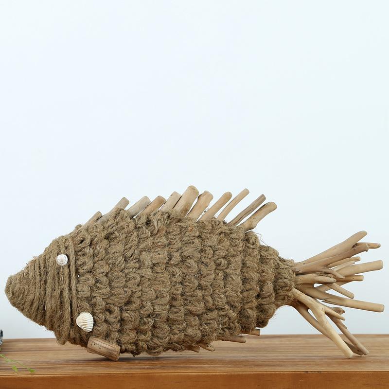厂家直销批发 纯手工创意礼品木质工艺品麻绳鱼摆件家居客厅摆设