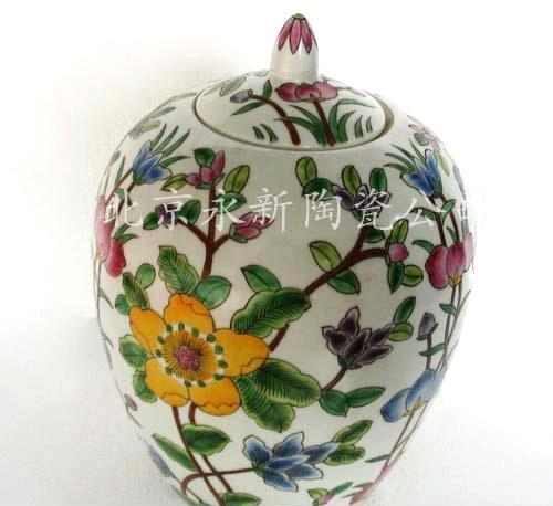 一件起批]样板间配饰 手绘陶瓷观赏罐 茶叶罐出口