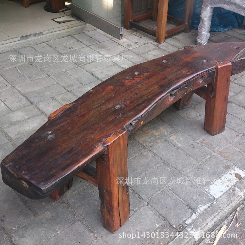 厂提供的原生态家具老船木板凳实木家具个性等候椅简约长椅矮凳户外客味木田园去洗剂擦松图片