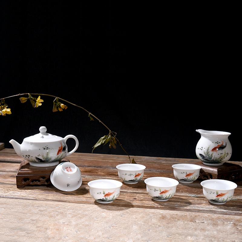 省级艺术家作品景德镇手绘茶具套装功夫茶家用年年有余创意高白瓷