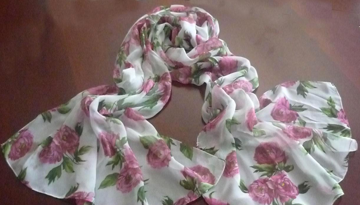 秋冬新款围巾 真丝长巾 雪纺纱印花围巾
