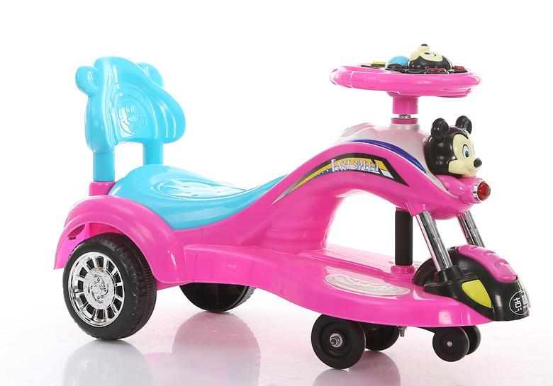 儿童扭扭车米奇米老鼠摇摆车滑行车溜溜车带闪光灯带音乐带靠背