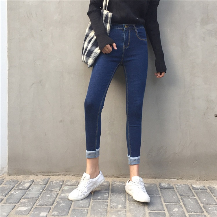 实拍 韩版时尚新款牛仔裤女修身弹力高腰卷边小脚裤铅笔九分裤潮