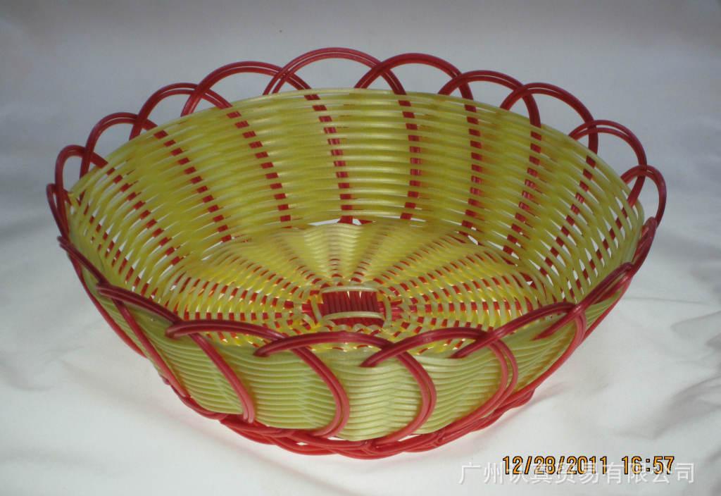 批发手工编织塑料篮子 时尚高档水果篮厨房工具直营批发