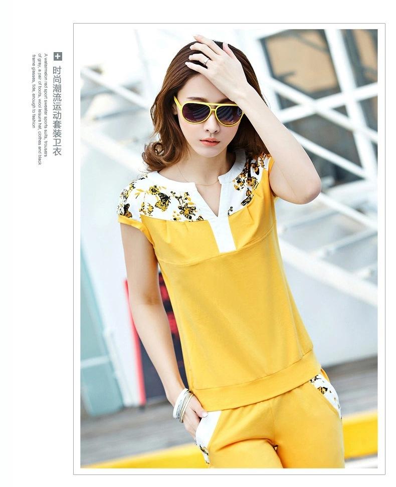 2016夏季新款女士短袖休闲套装时尚印花卫衣七分裤运动服套装女