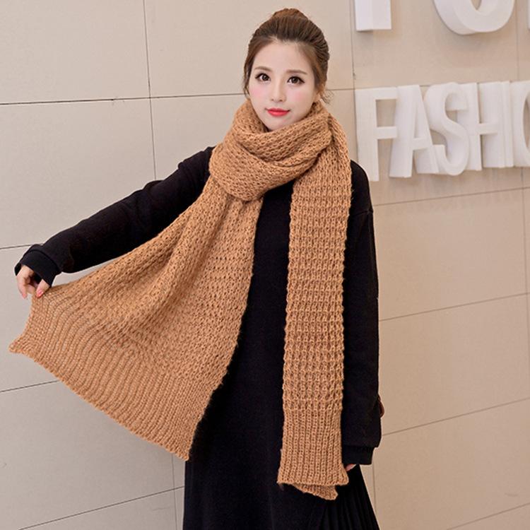 韩版纯色针织毛线围巾女冬天围巾披肩两用秋冬季长款加 商家主营
