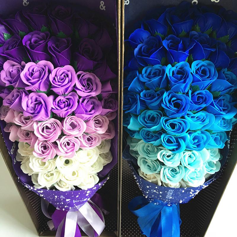 七夕情人节礼物51朵玫瑰香皂花束礼盒礼品 创意生日礼物一件代发图片