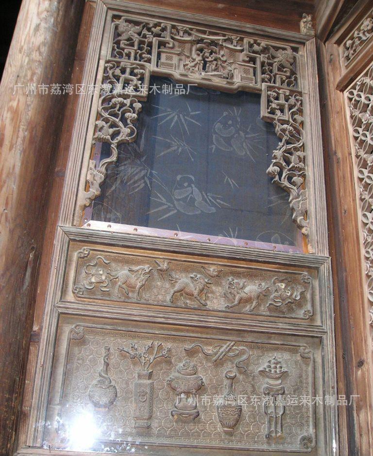 广州嘉运来手工订做仿古门窗 家居实木仿古门窗 中式实木仿古门窗