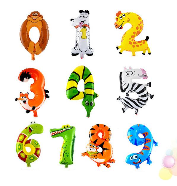 出口 卡通造型气球儿童玩具氢气球数字气球小号动物数字铝膜气球图片