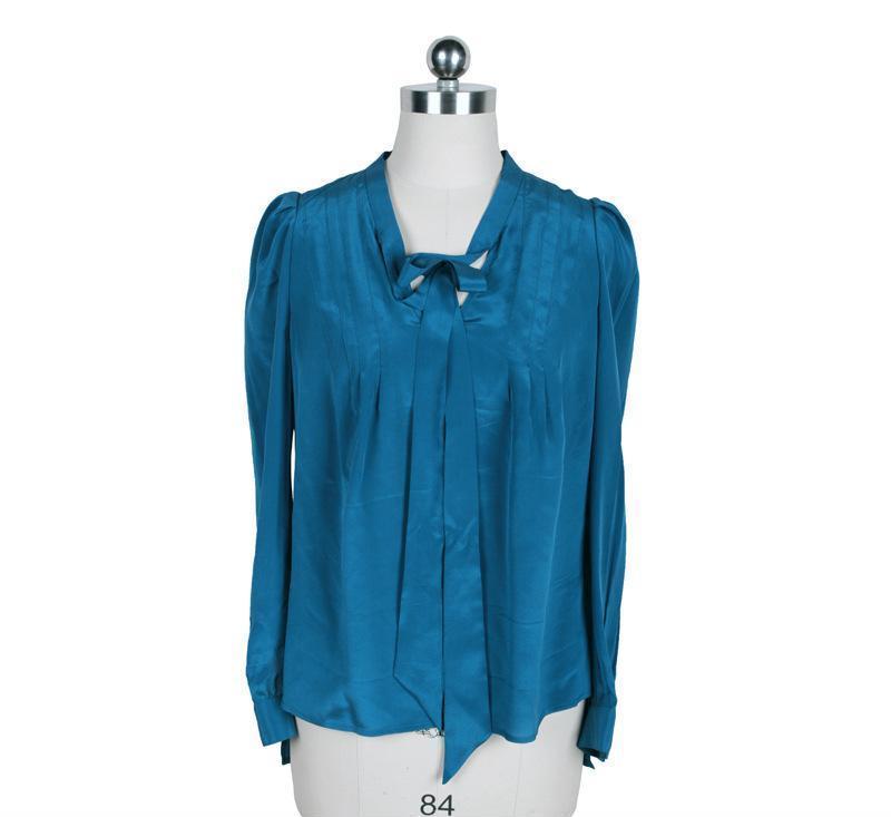 LD真丝女式衬衫长袖2013春新款飘带V领复古前短后长原创品牌正25