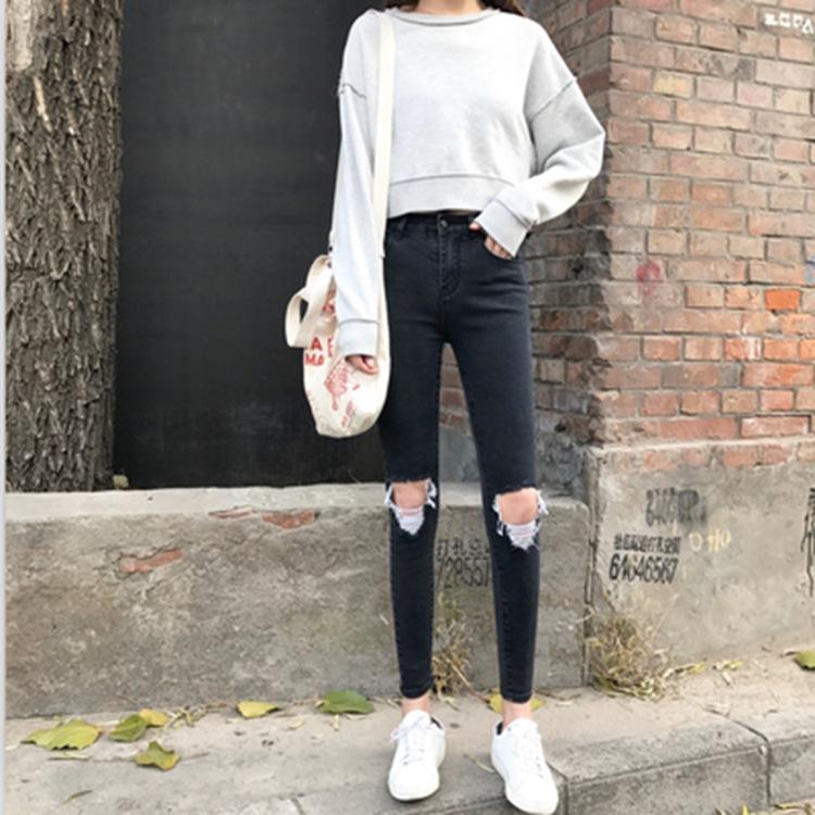 实拍 韩版女装高腰弹力显瘦黑色新款膝盖破洞拉丝牛仔裤女 两色