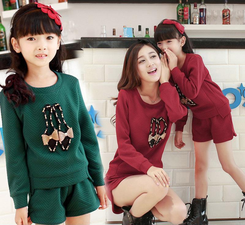 2014秋装新款 韩版针织时尚女鞋图案两件套装亲子装批发 母女装批
