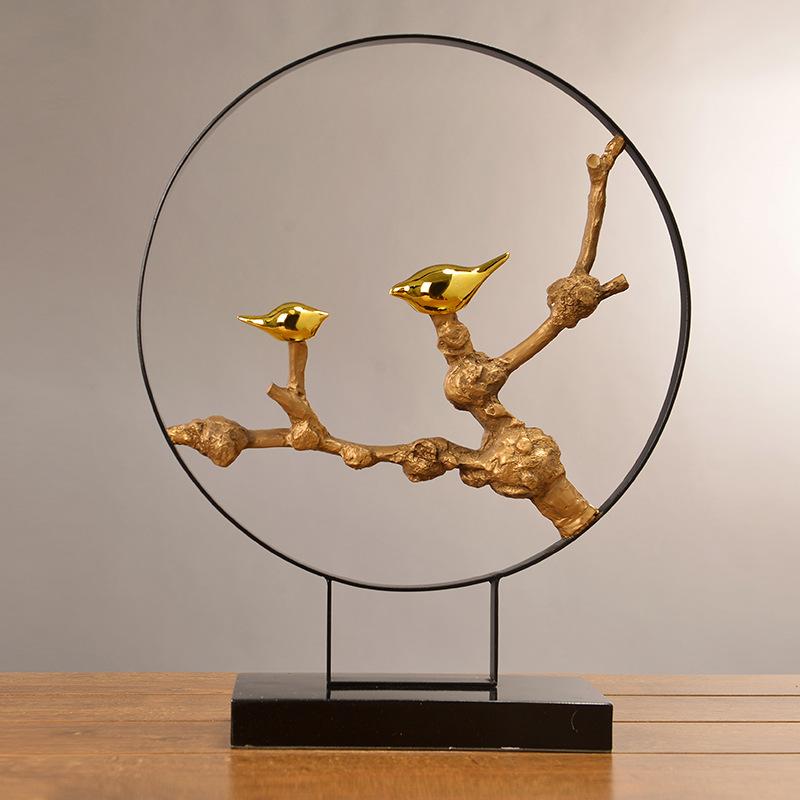 新中式创意铁艺小鸟艺术摆件 软装样板房家居客厅禅意装饰品摆饰1图片
