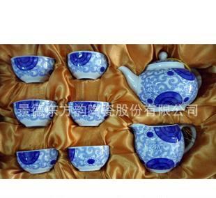 东方韵陶瓷 高档礼品 商务馈赠 8头茶具 带过滤网 正品 白茶花