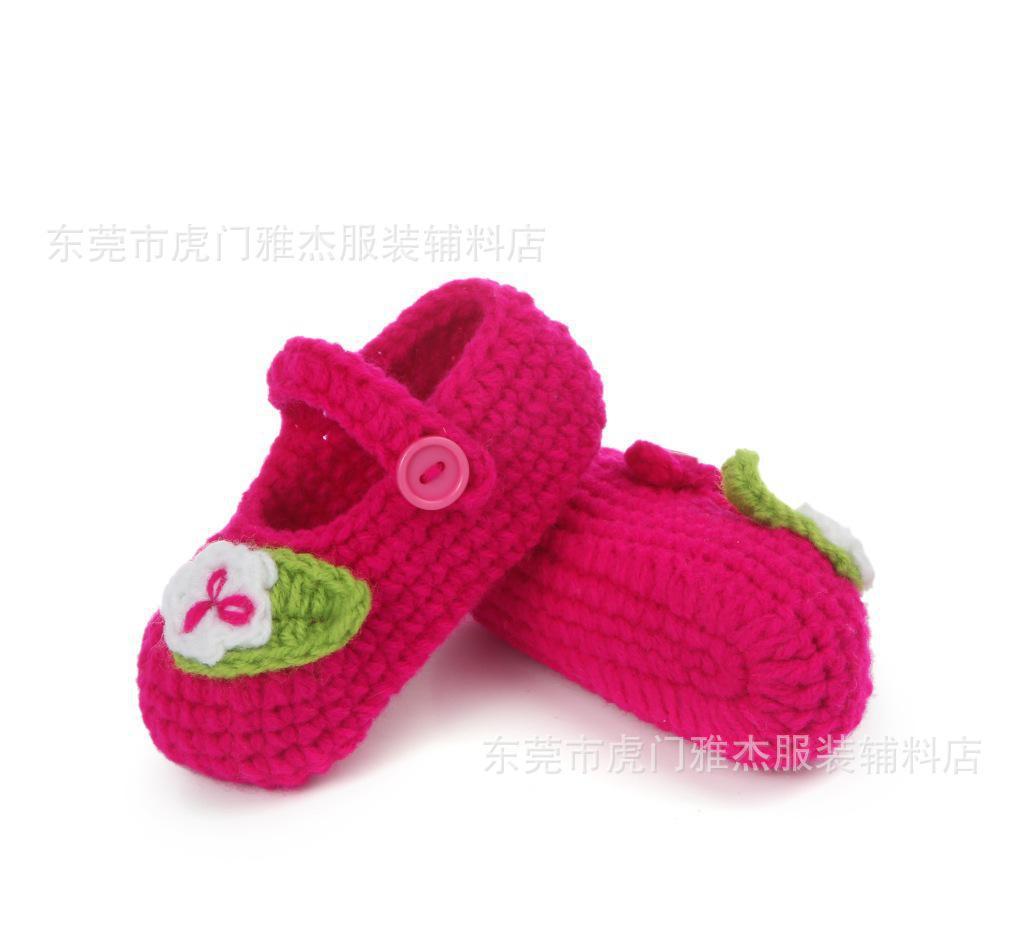 婴儿鞋底袜勾针织鞋毛线鞋子纯手工鞋编织宝宝鞋袜钩针童鞋春季0