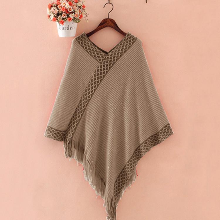 韩版 加厚保暖 羊绒 羊毛  流苏套头 斗篷披肩 秋冬季 套衫  女士
