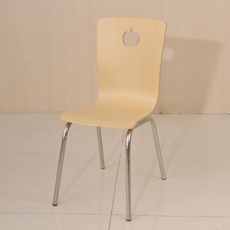 时尚快餐桌椅 肯德基餐椅曲木椅 不锈钢食堂餐桌椅原木色靠背椅子图片