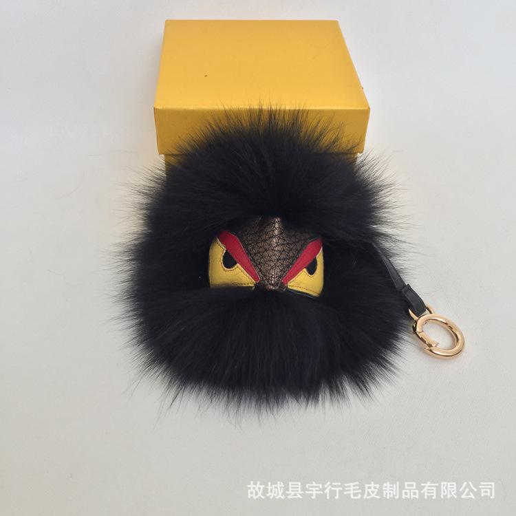 包包挂饰小怪兽挂件狐狸毛球男女士钥匙扣礼物配饰批发饰品皮草0