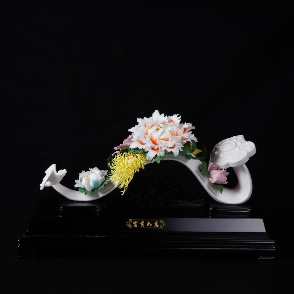 高档德化陶瓷工艺品摆件办公商务婚庆喜庆礼品富贵如意瓷器摆件