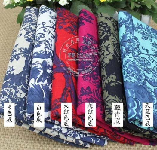 大树根枝棉麻印花面料 六色大树枝印花家居布料 棉麻服装布料
