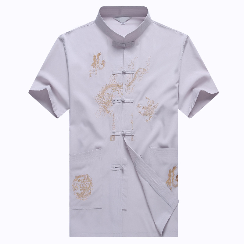 中老年男式夏季運動服唐裝立領短袖襯衫大碼t恤衫中國風功夫服裝圖片