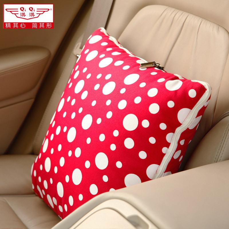 淇淇色性影院_车载抱枕被两用靠垫被子淇淇创意靠枕加厚纯棉汽车空调被折叠毯子